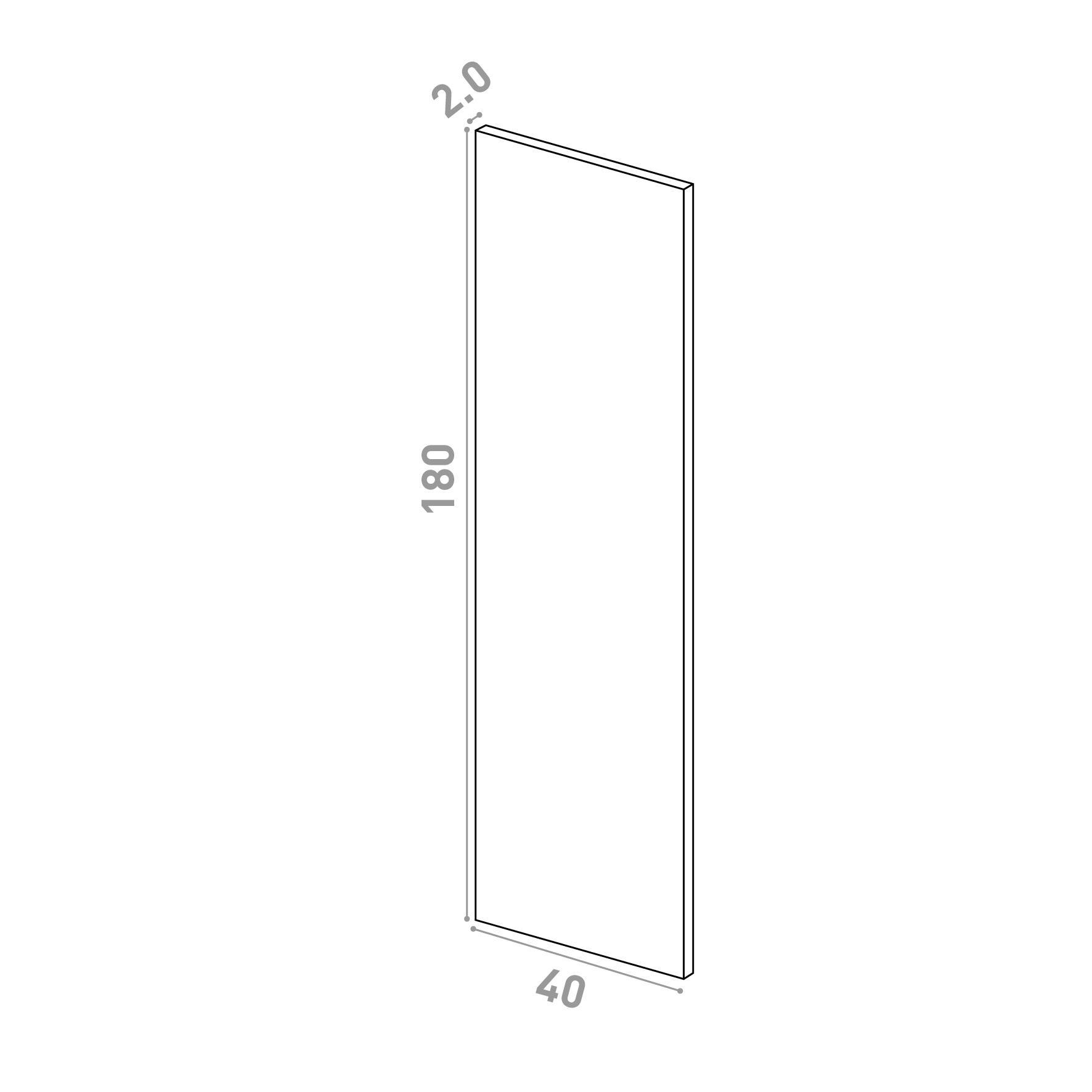Porte 40x180cm   design lisse   noyer naturel