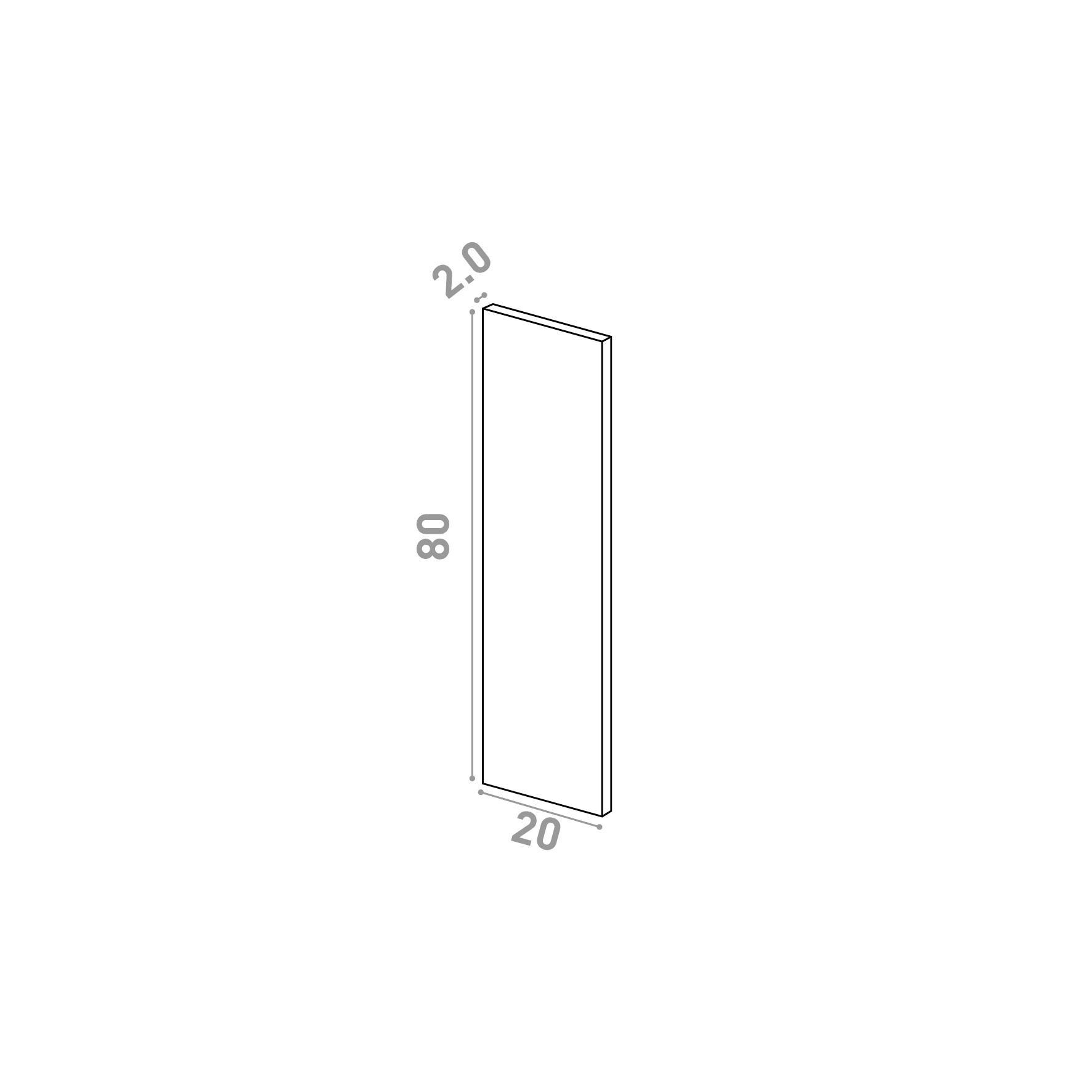 Porte 20X80cm   design lisse   noyer naturel