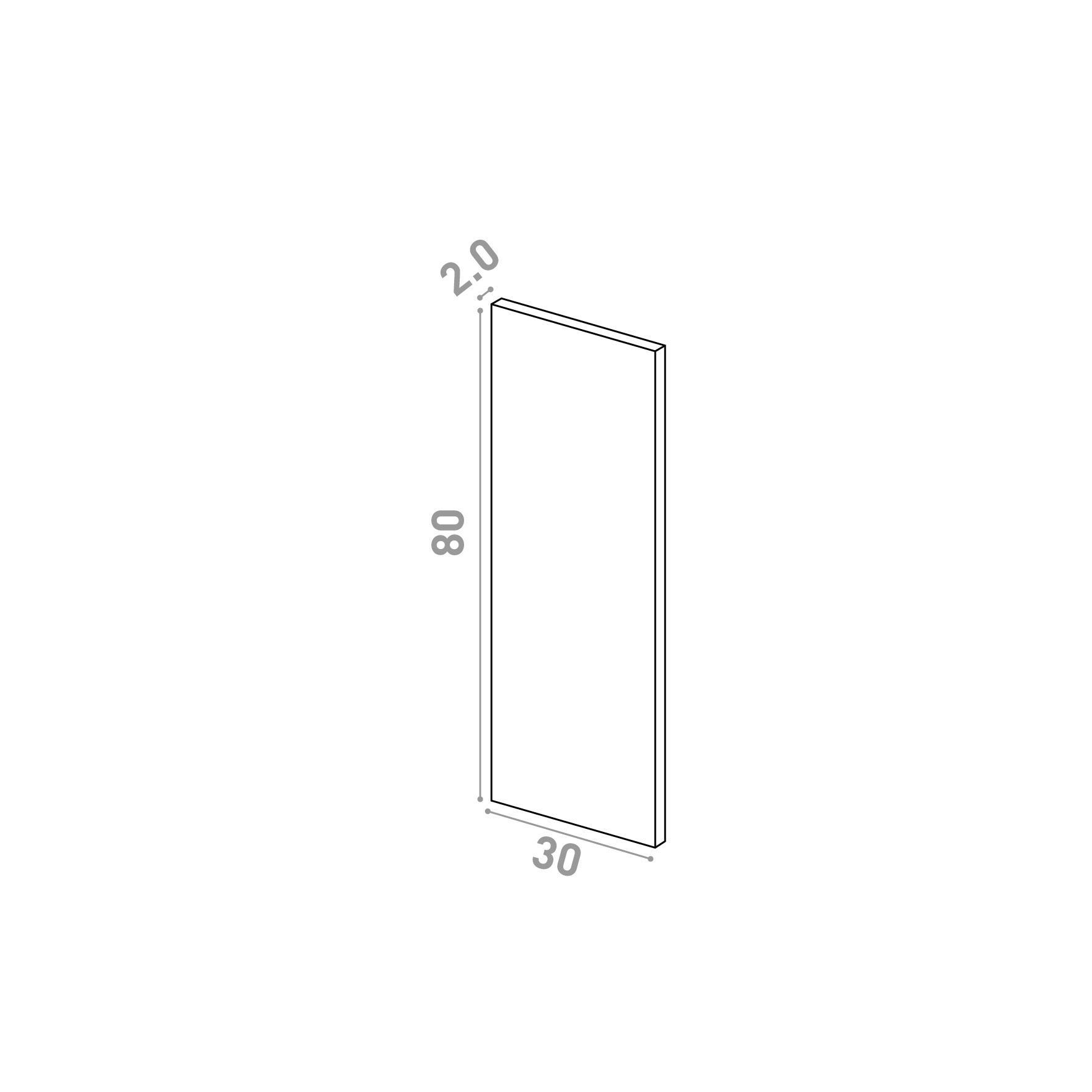 Porte 30X80cm   design lisse   noyer naturel