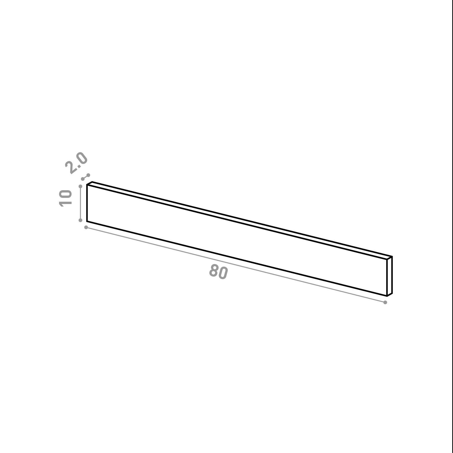 Tiroir 80X10cm   design lisse   noyer naturel
