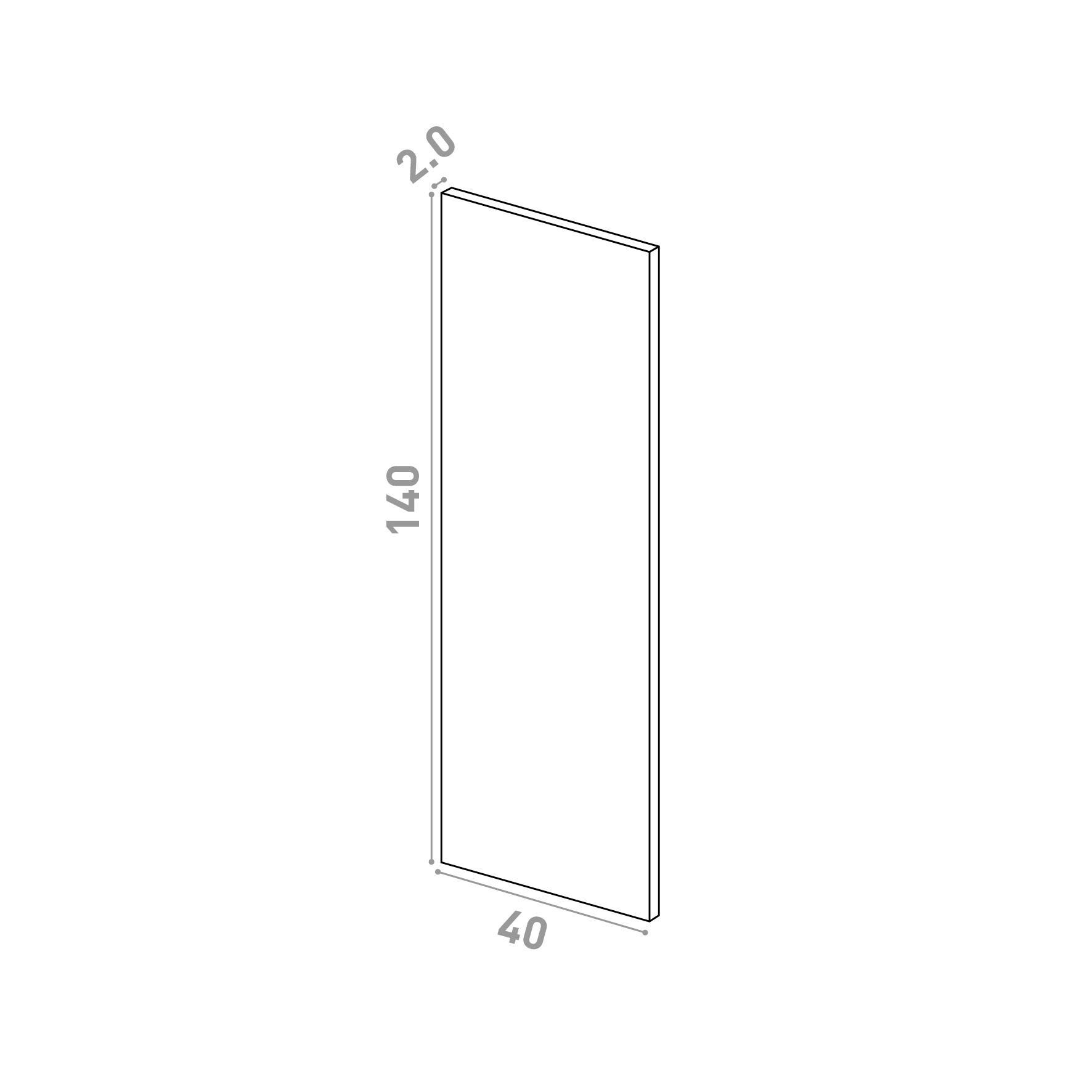Porte 40X140cm   design lisse   noyer naturel