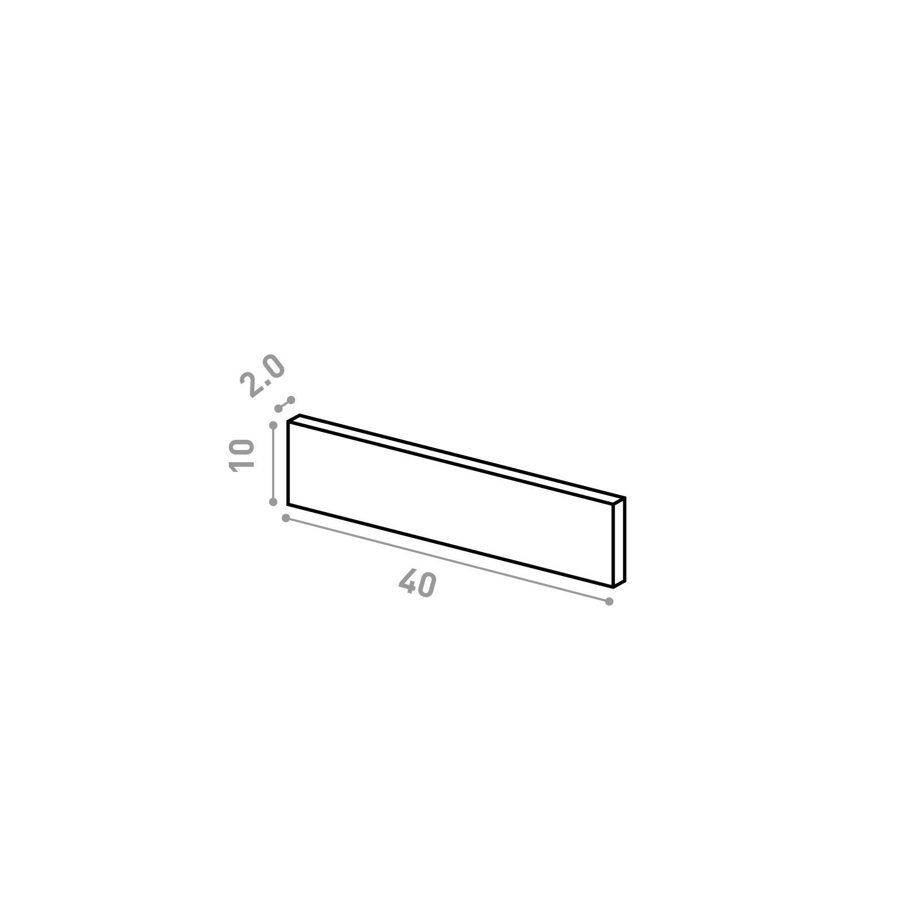 Tiroir 40X10cm   design lisse   noyer naturel